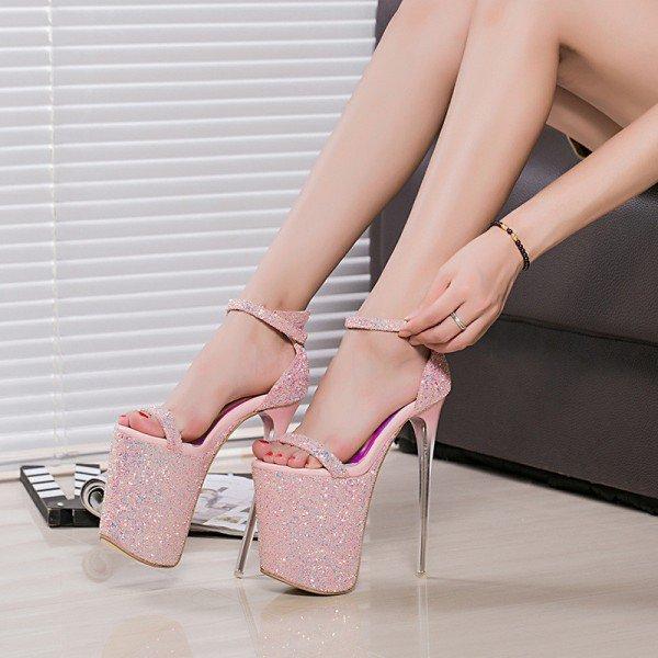 Chaussures à plateforme et brides à paillettes - Rose