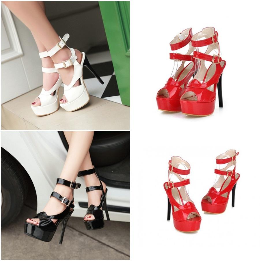 Chaussures à plateforme et talon aiguille, brides sur la cheville - Blanc, Noir ou Rouge