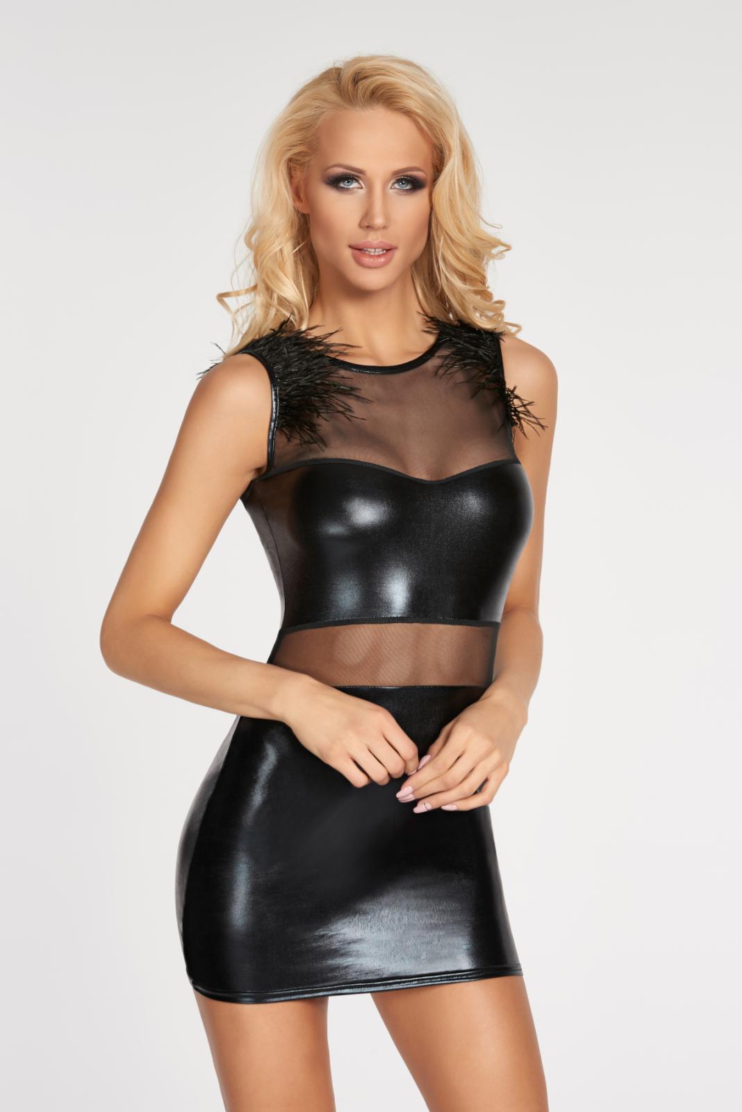 Mini robe wetlook noire Moche - 7Heaven