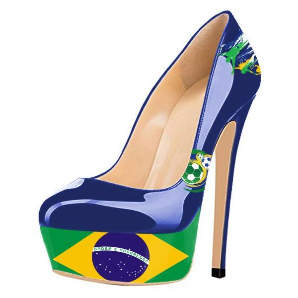 Chaussures à talon et plateforme drapeau Brésil