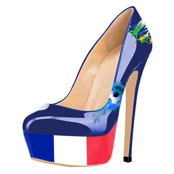 Chaussures à talon et plateforme drapeau France