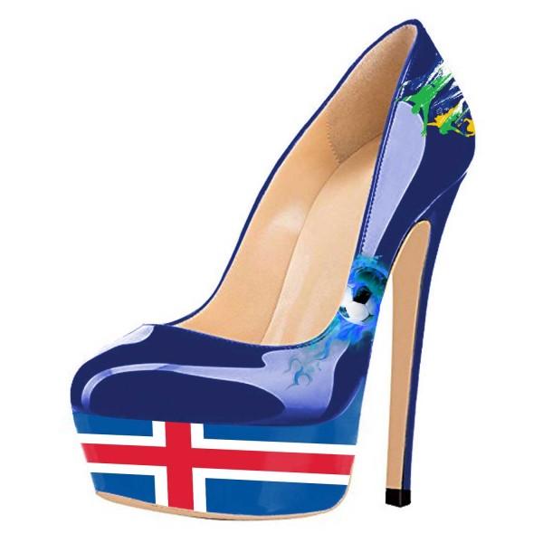 Chaussures à talon et plateforme drapeau Islande