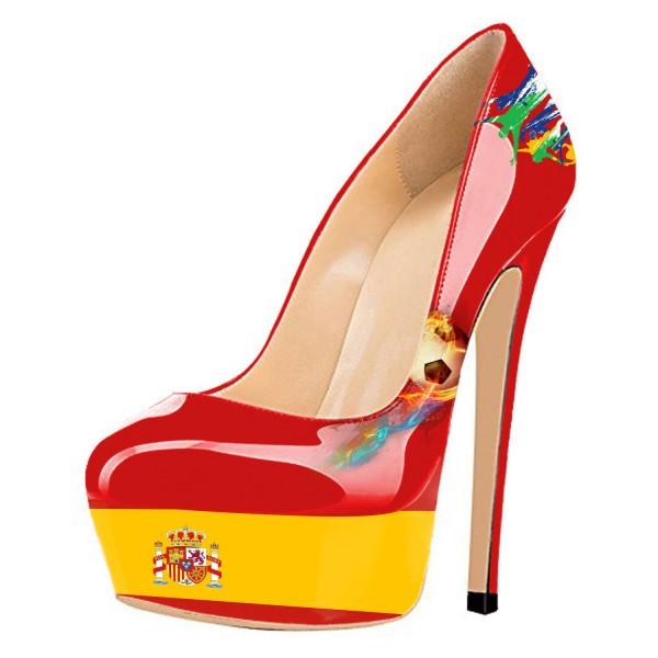Chaussures à talon et plateforme drapeau Espagne