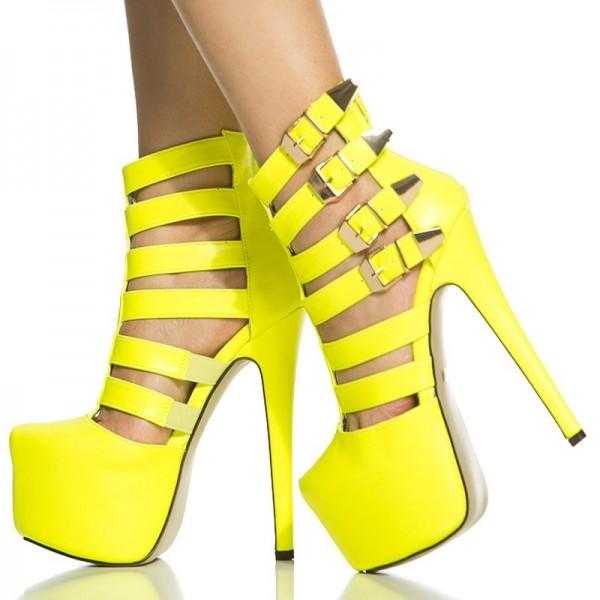 Chaussures à plateforme et brides - Jaune