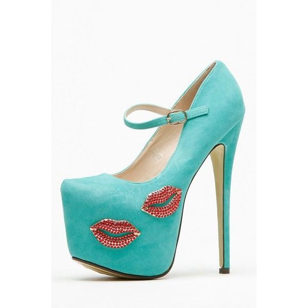 Chaussures à plateforme et lèvres en strass - Turquoise