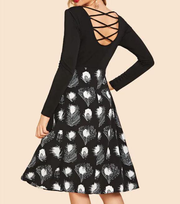 Robe Vintage Imprimée, Ajustée Évasée - Noir