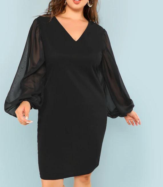Grande Taille Robe À Manches Transparentes - Noir