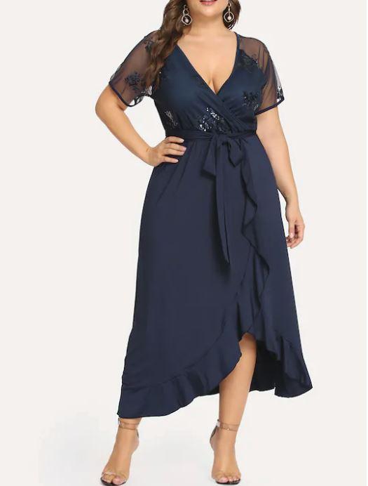 Grande Taille Robe Portefeuille À Paillettes - Bleu marine