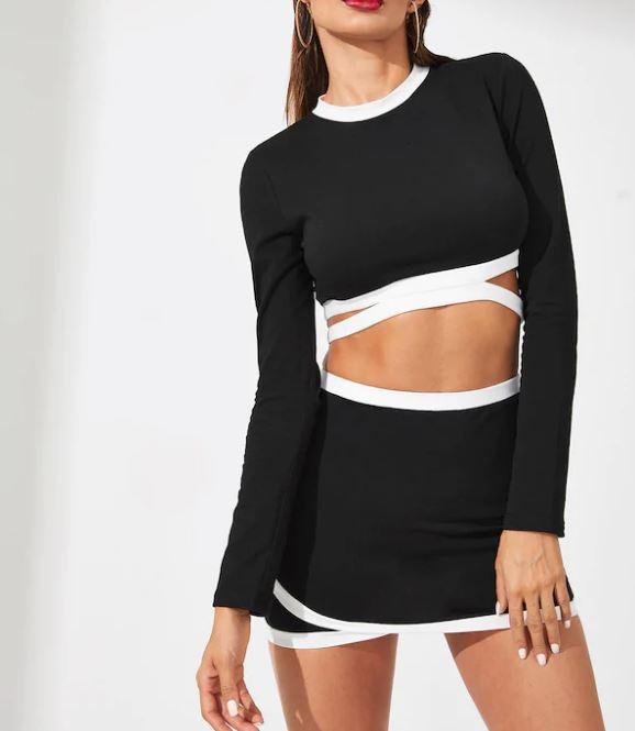 Ensemble Clubwear Top À Bord Contrasté  & Jupe Portefeuille - Noir