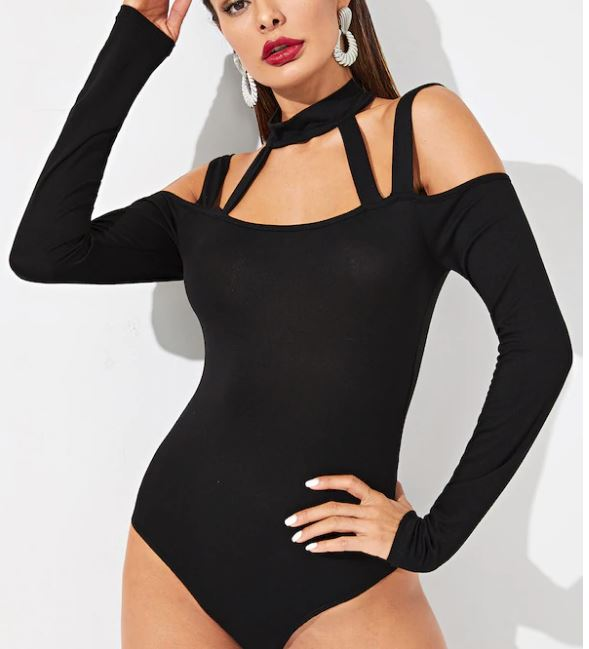 Body Ajusté À Lanières - Noir