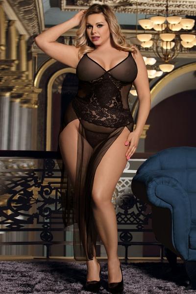 Grandes tailles - Nuisette longue transparente - Noir - Paris Hollywood