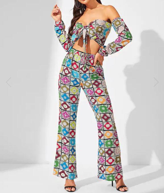 Déguisement Hippie - Top Imprimé Avec Nœud & Pantalon
