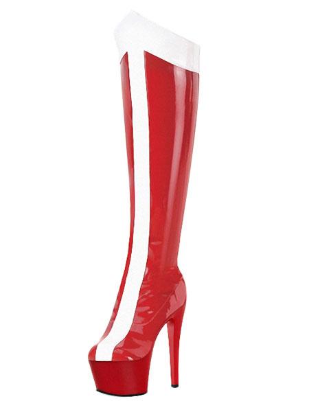 Bottes à plate-forme et haut talon - Rouge Blanc bd731f4f6af7