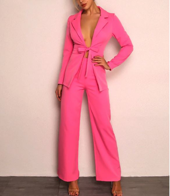 Ensemble pantalon et blazer - Rose