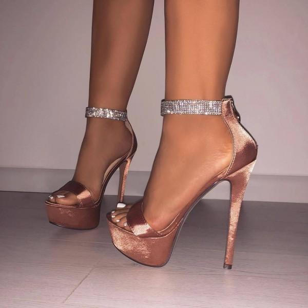 Sandales à talon aiguille bride strass - Champagne