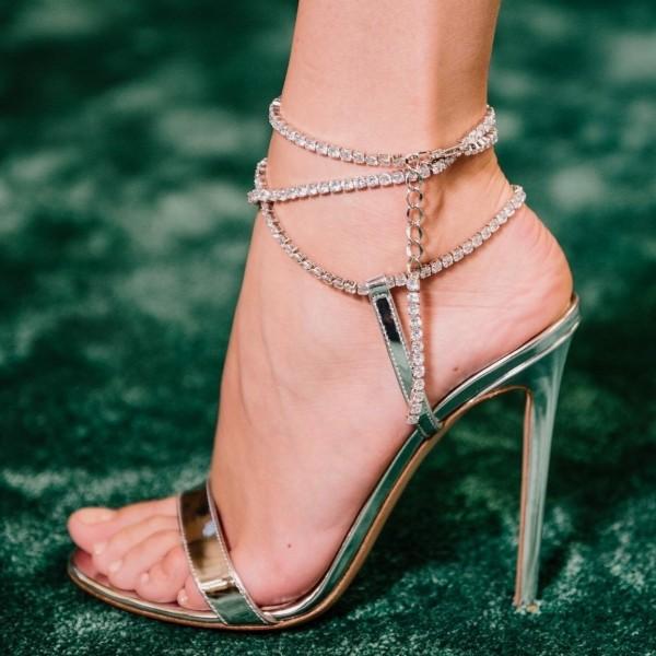 Sandales à bride en strass - Argent