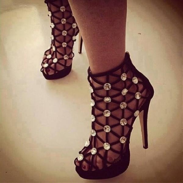 Sandales à brides avec strass - Noir