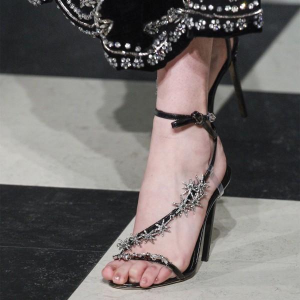 Sandales à bride en strass - Noir
