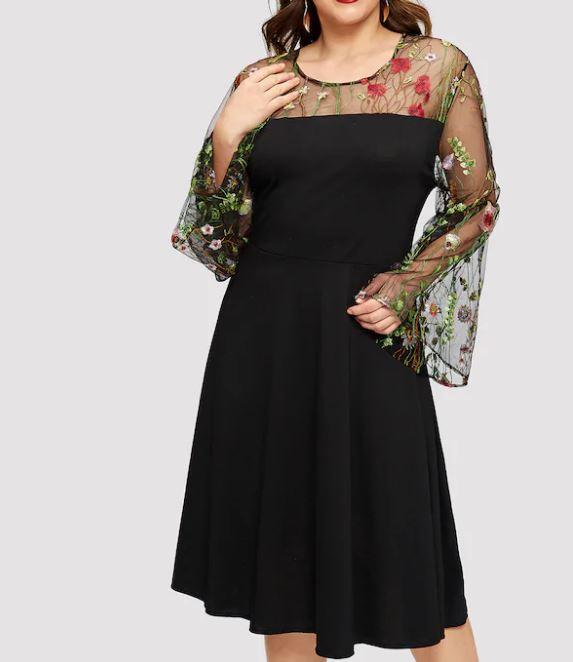 Robe noire manches cloche et tulle brodé - Grandes tailles