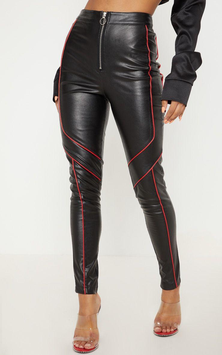 Pantalon en similicuir à coutures contrastantes
