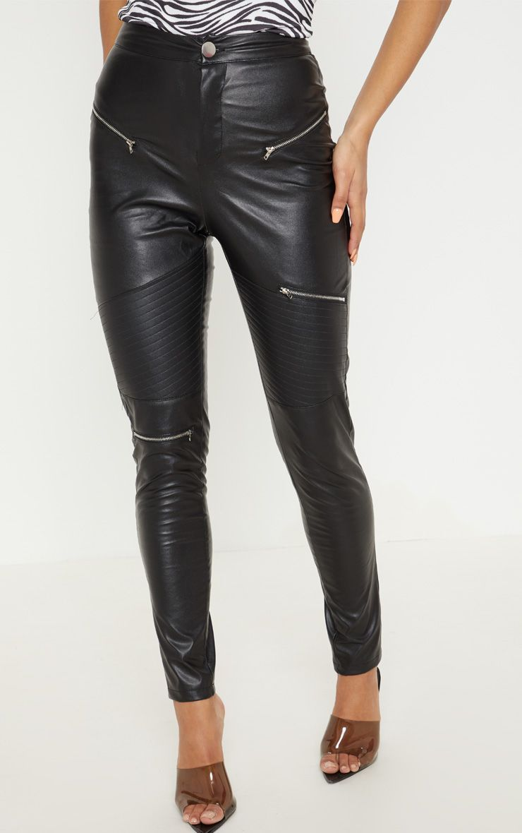 Pantalon skinny en similicuir noir