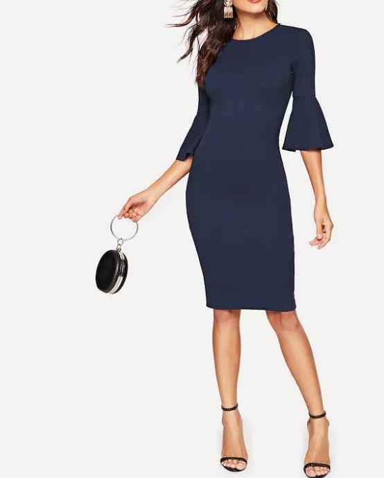 e36dd3920a0 Robe Fendue Avec Manches Cloche Bleue - Vêtements Robes - Sy-belle