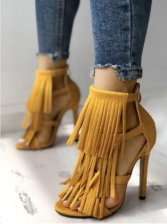Chaussures à talon haut à pampilles - Jaune