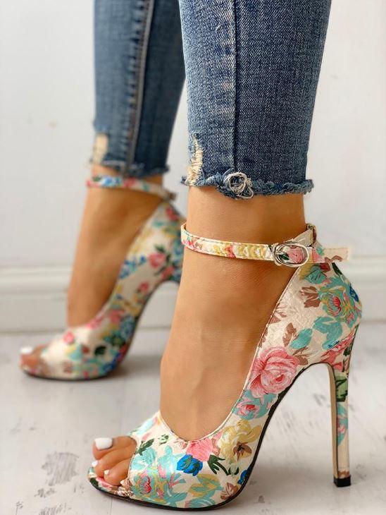 Chaussures à talon et bride à la cheville - Floral