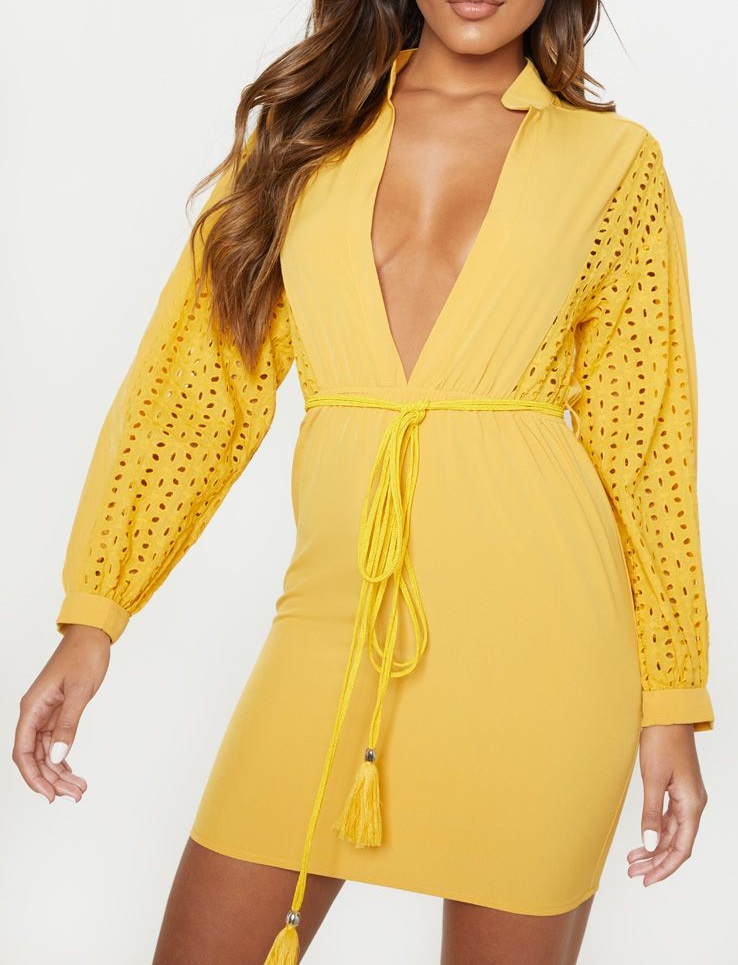 Robe chasuble en broderie anglaise - Jaune