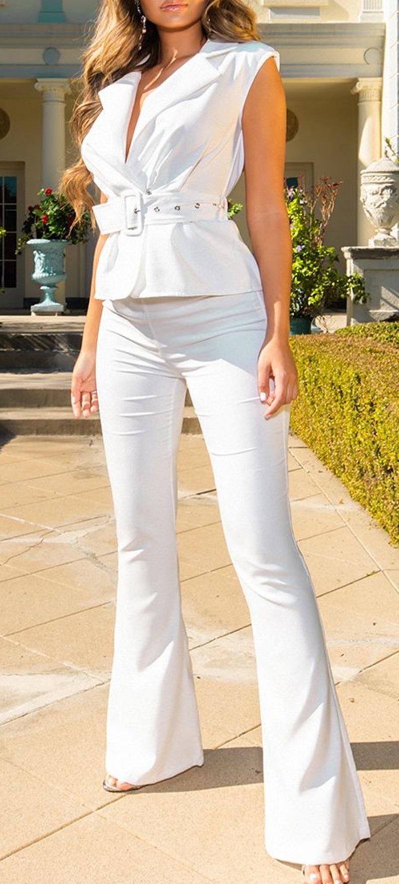 Combinaison à détail ceinture - Blanc