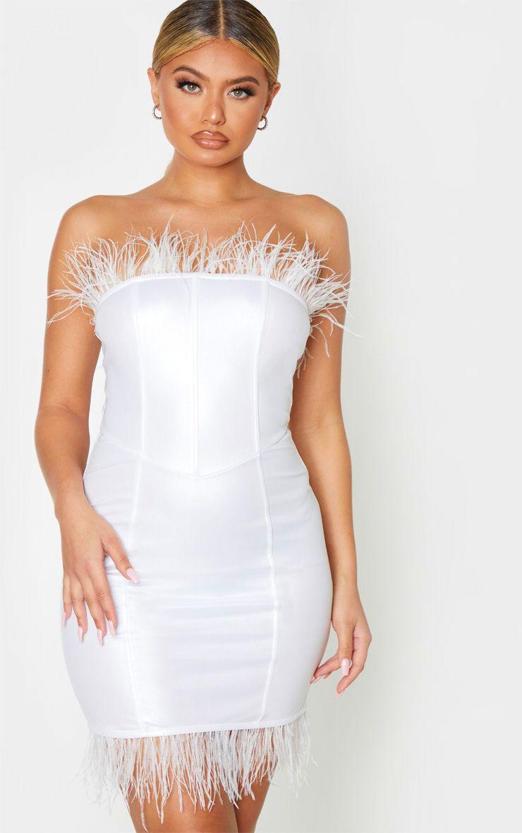 Robe bandeau en similicuir à bande de plumes - Blanc