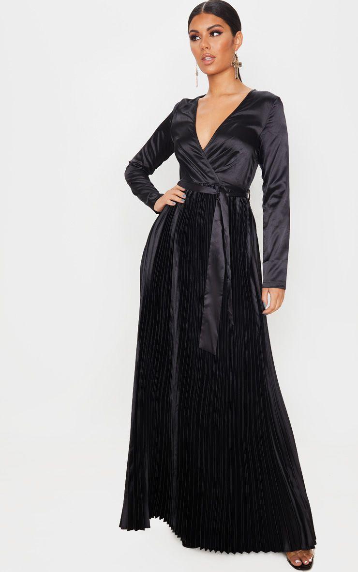 Longue robe satinée plissée - Noir