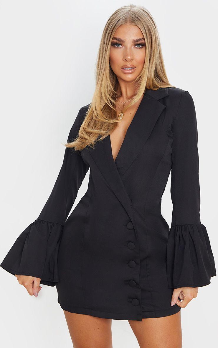 Robe blazer manches longues - Noir