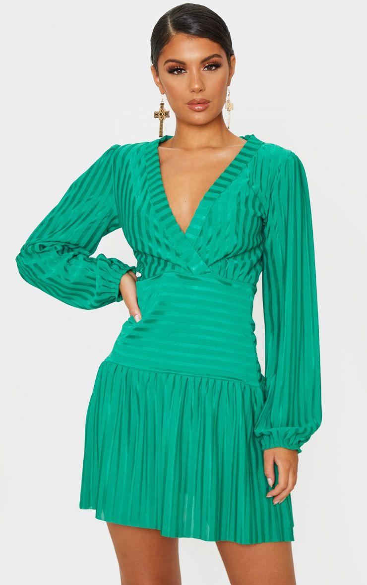 Robe cache-coeur à rayures et manches bouffantes - Vert