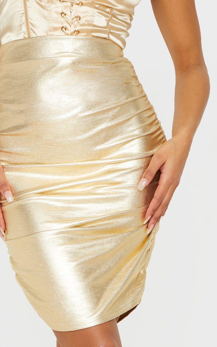 Mini-jupe métallisée à détail froncé - Or