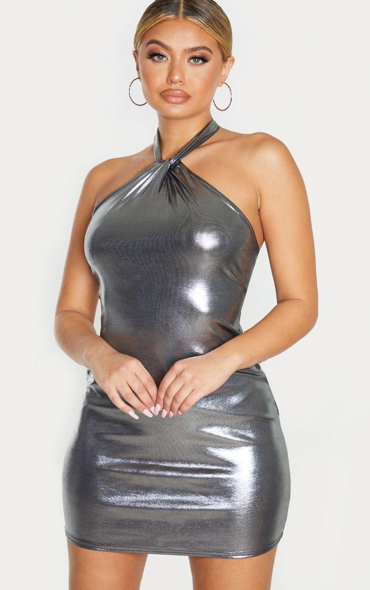 Robe dos nu métallisée irisée - Argent