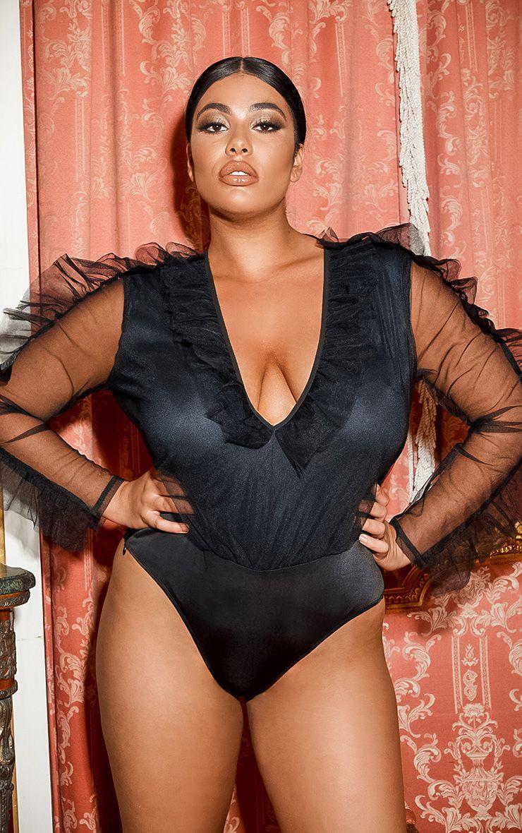 Body en mesh à décolleté - Noir - Grandes tailles