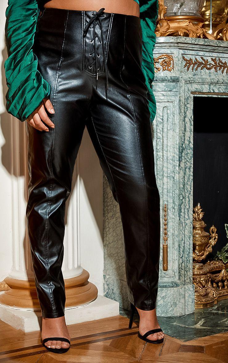 Pantalon en similicuir à lacer - Noir - Grandes tailles