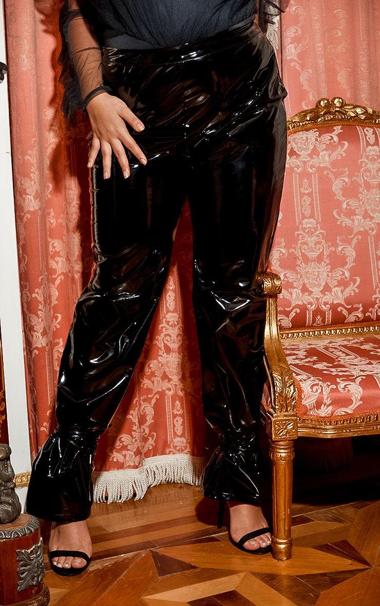 Pantalon en vinyle à lacets - Noir - Grandes tailles