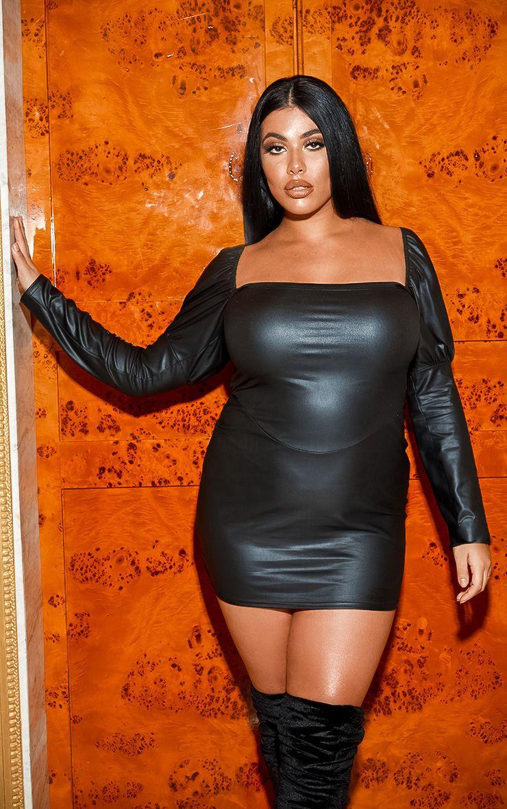 Robe en similicuir à manches bouffantes - Noir - Grandes tailles