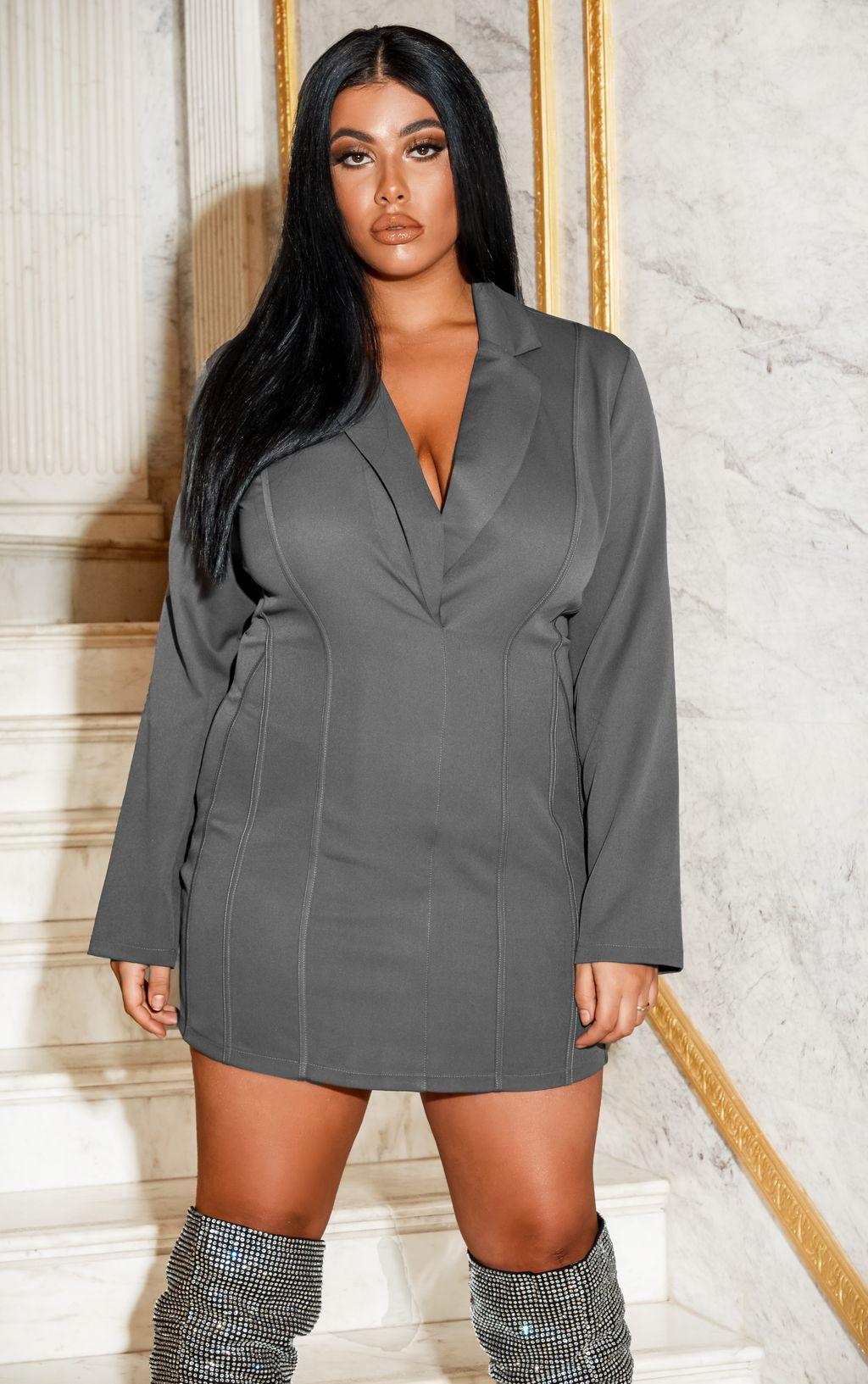 Robe blazer cintrée - Gris - Grandes tailles