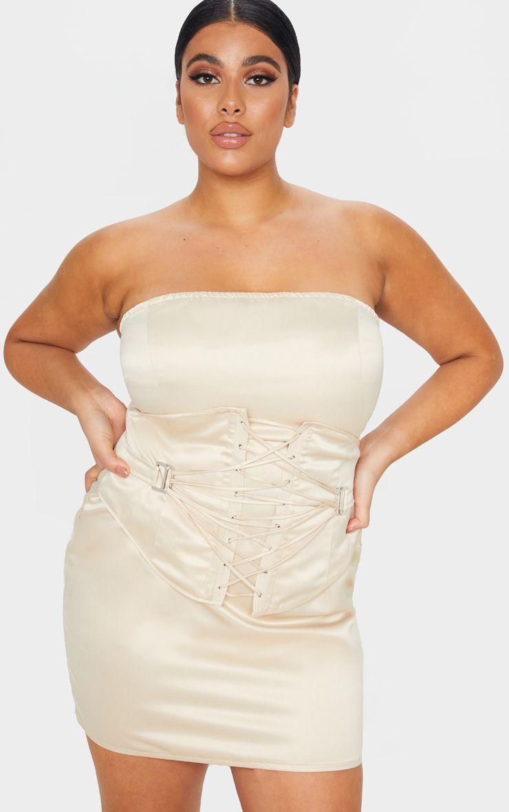 Robe bandeau à corset lacé - Champagne - Grandes tailles