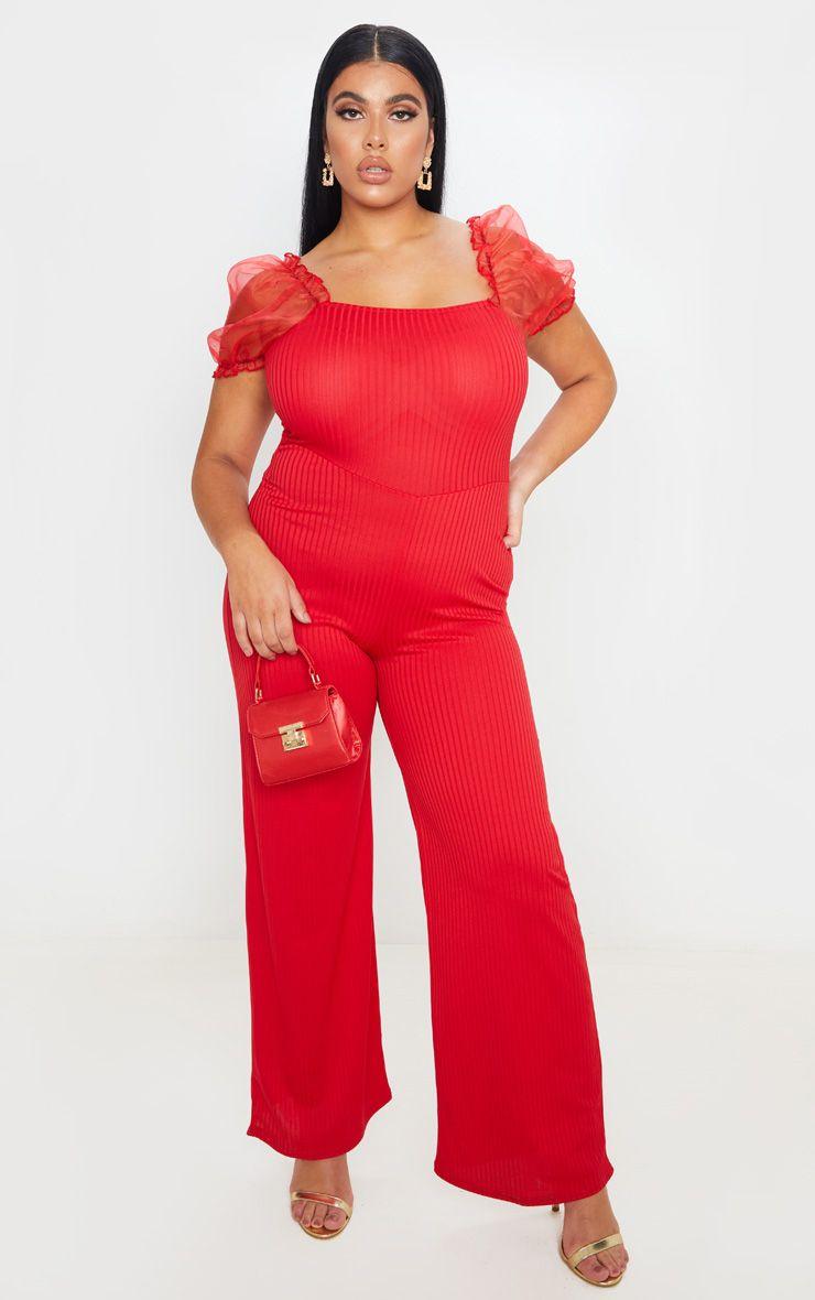 Combinaison à manches courtes en organza - Rouge - Grandes tailles