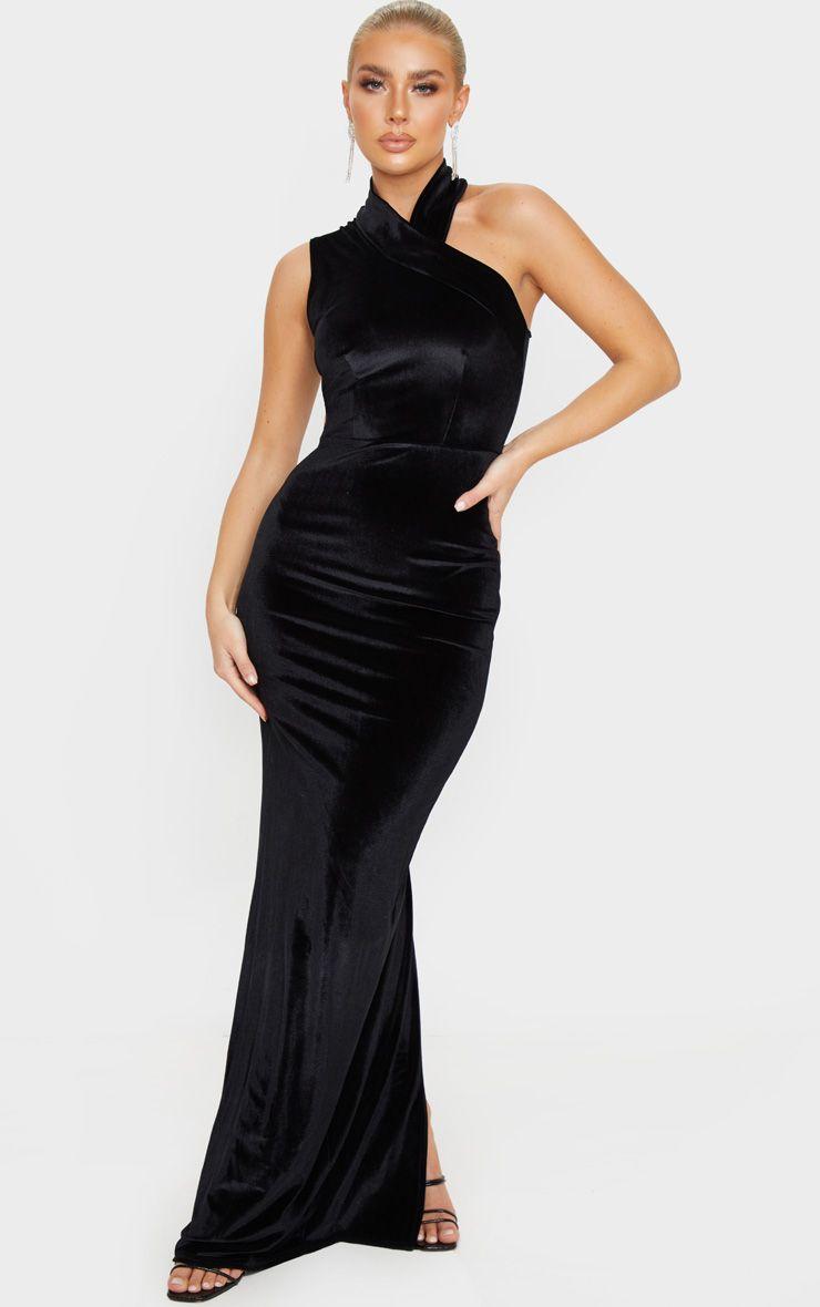 Robe longue asymétrique en velours -Noir
