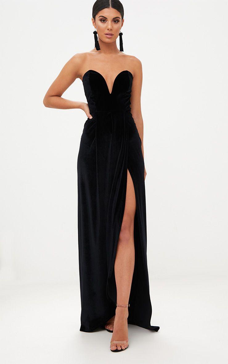 Longue robe en velours drapée sur l\'avant -Noir