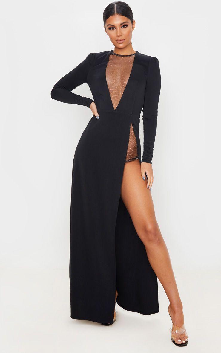Robe longue à empiècement pailleté - Noir