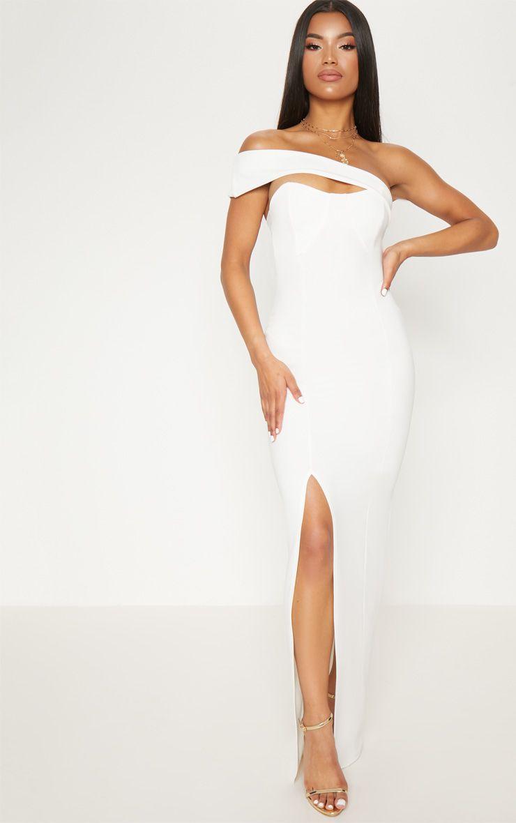 Robe longue à bretelle unique - Blanc