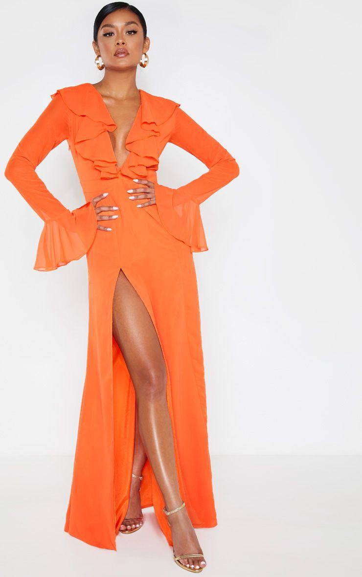 Robe longue à décolleté volanté - Orange
