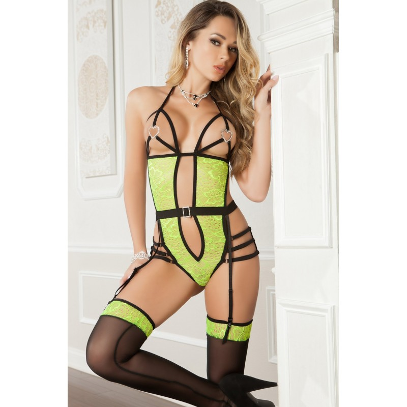 Body sexy avec bretelles réglables - Vert fluo - G World