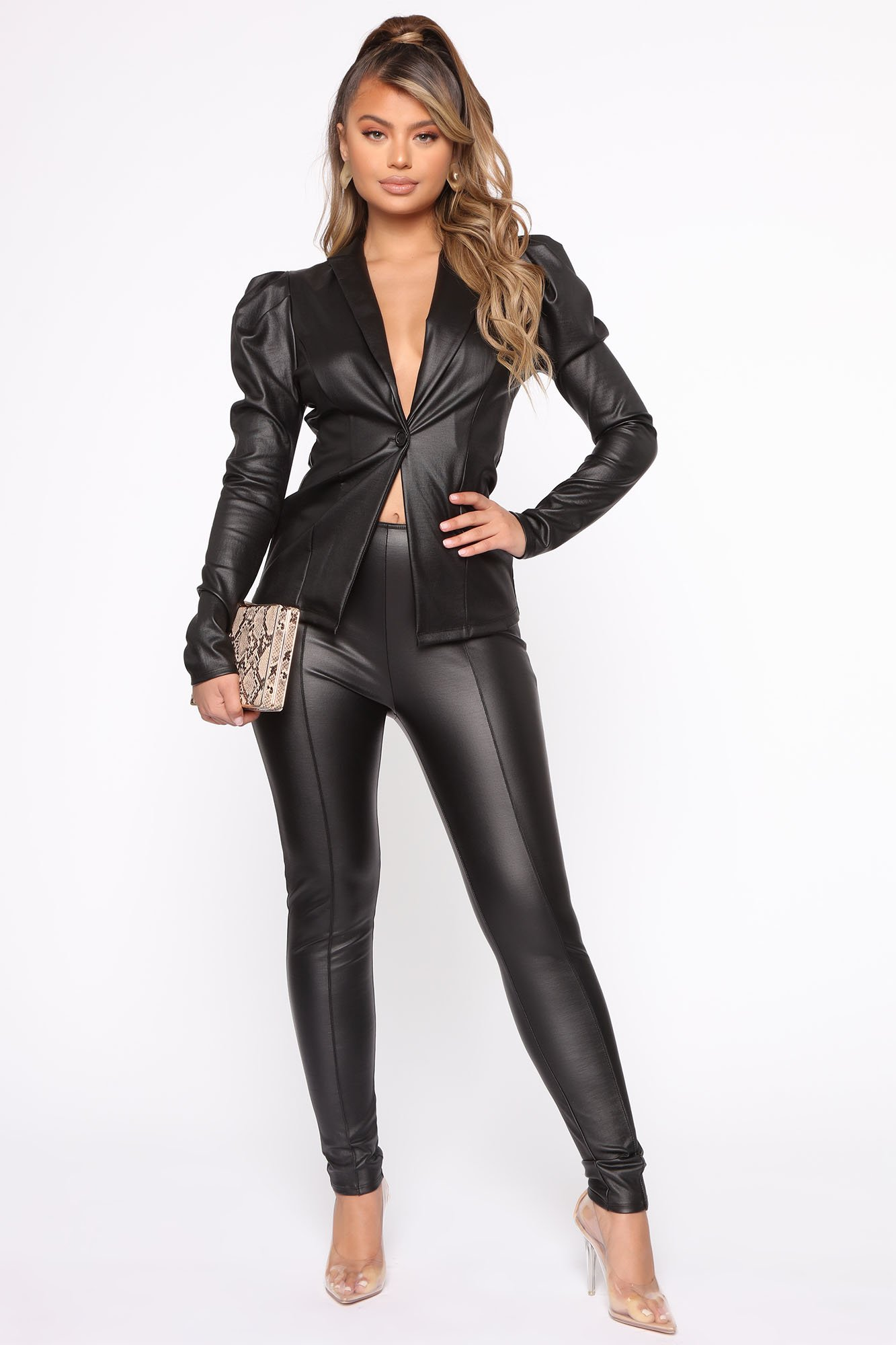 Ensemble pantalon et blazer wetlook - Noir